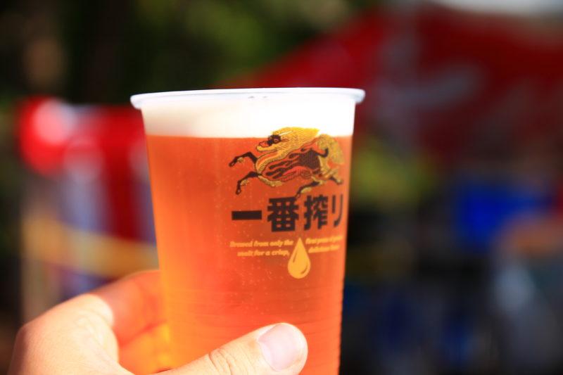 北区区民祭りの王子飛鳥山会場のビール