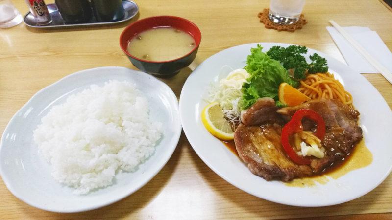 十条の天将さんのポークソテーとご飯と味噌汁