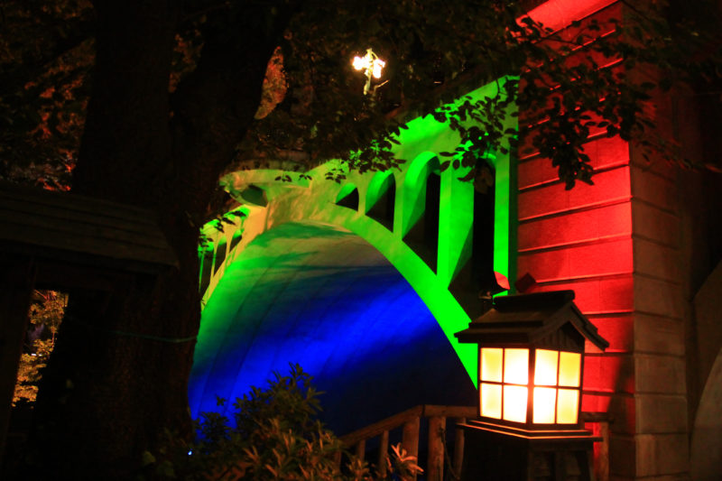 音無親水公園の紅葉ライトアップ