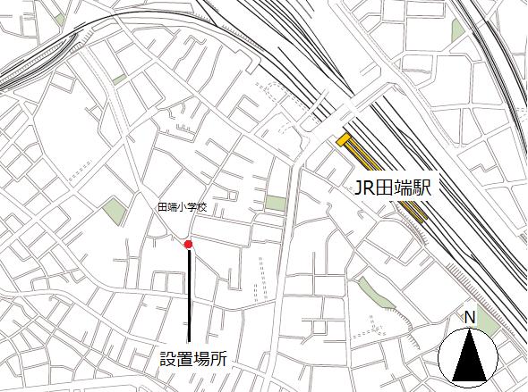 田端のらくろのデザインマンホール蓋の場所