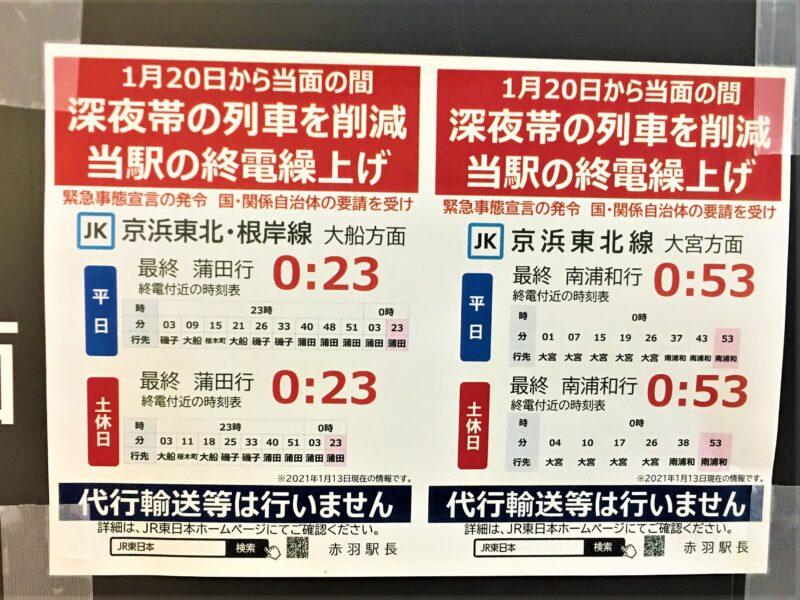 赤羽駅 終電繰り上げ 京浜東北線
